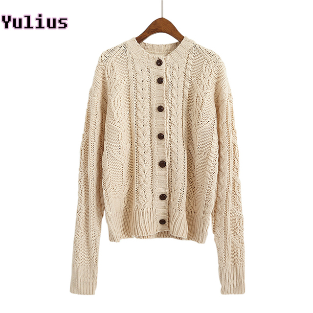 Aliexpress Buy 2018 Korean Style Single Breasted Cable Knit