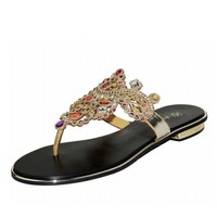 Plus Size 34 44 Hot 2016 Luxury Women Sandals Flat Rhinestone Slippers Flat Flip Flops Fashion