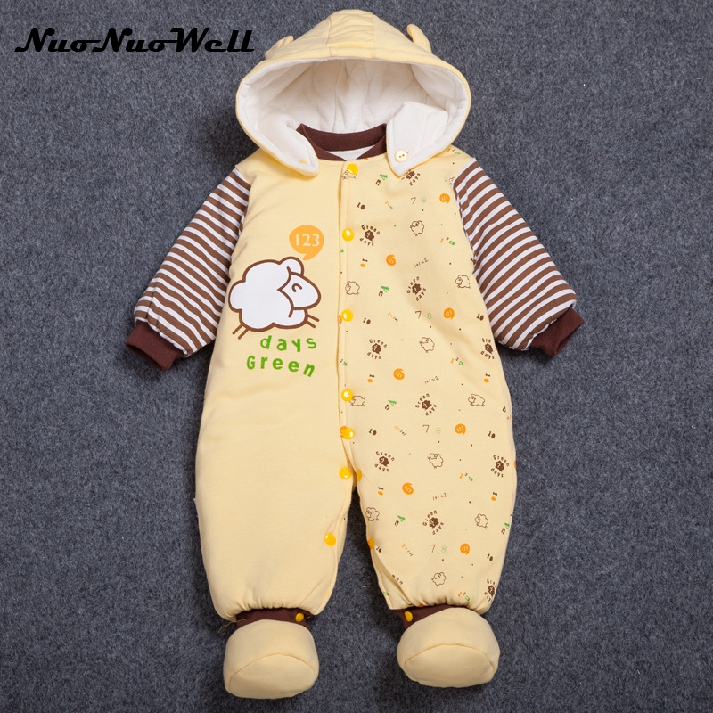 NNW Newborn Clothing 3pcs Infant Boys Girls Outwear Winter Thick Cute Hooded Baby Rompers Baby Jumpsuit Boys Clothes Outfits 2017 infant romper baby boys cute panda rompers girls jumpsuit new born bebe clothing hooded toddler baby clothes baby costumes