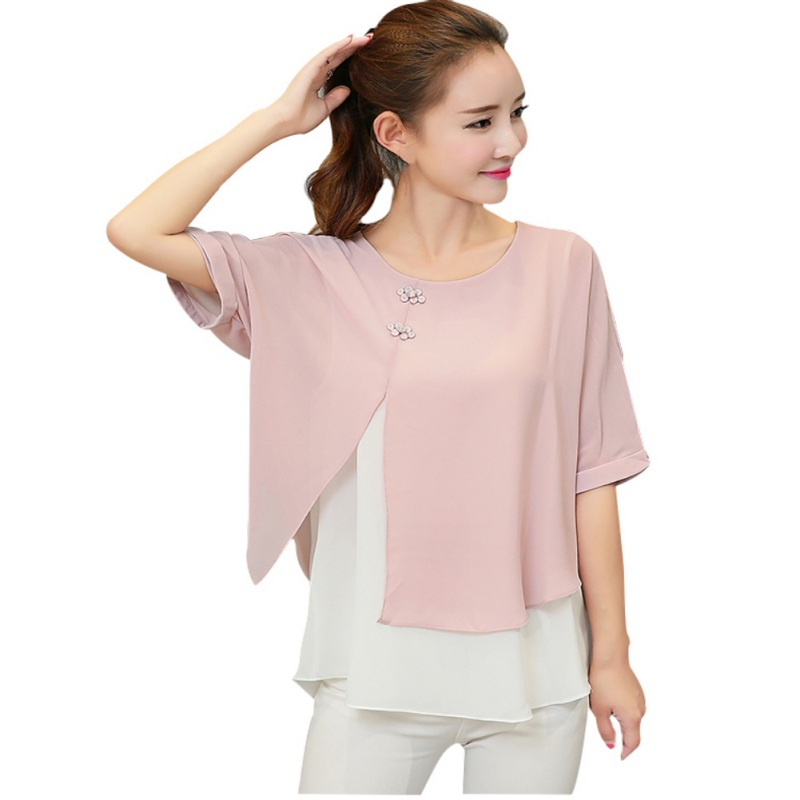 Women Fashion Summer Loose Casual Lady Chiffon Blouses Shirt Batwing Short Sleeve Two Layer M-4XL Plus Size Top for Female H5