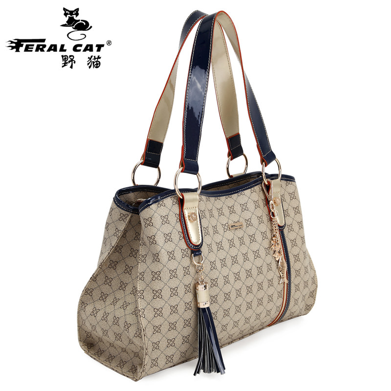 FERAL CAT women bag 2017 New Fashion Handbag Women's Plaid Tote Top Handle Designer Famous Brand High Quality  3009 feral cat high quality women shoulder bags 2017 vintage pvc designer hobos handbag ladies crossbody bag culth zipper plaid bolso