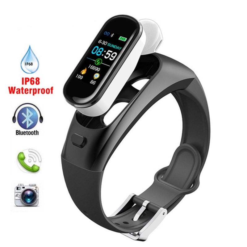 DW-Wogesup H109 2-in-1 Sports Smart Watch Bluetooth Wireless Earphones Heart Rate Blood Pressure Camera Waterproof Band