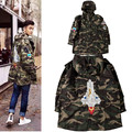 2017 High Street Mens Jackets Brand Justin Bieber Rocket Embroidery Camouflage Hooded Jacket Long Military Camouflage Jacket Man