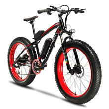 Cyrusher XF660 Fat Tire Electric Bike 7 Speeds Mechanical Disc Brake 500W 48V 10.4ah with Adjustable Handlebar Bike Light