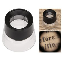 10X Multifunctional Cylinder Eye Magnifier Glass Loupe Lens Magnifying Tool for Jewelry Watch Coin Stamp Black + Transparent