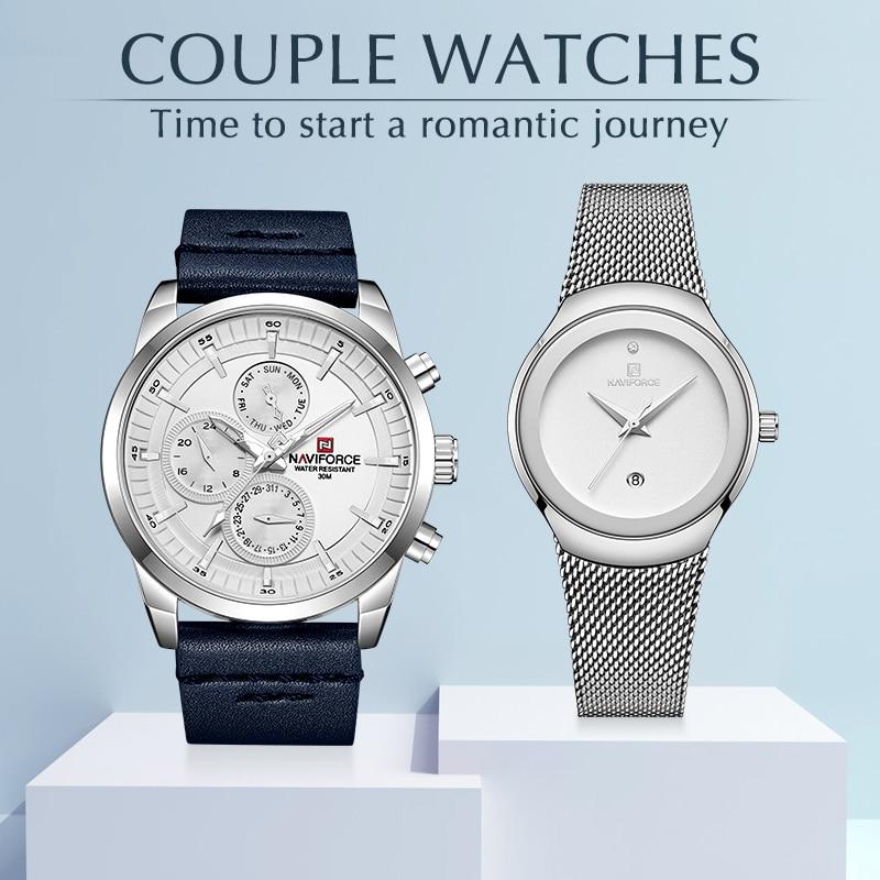 NAVIFORCE Lover s Watches for Men and Women Fashion Dress Wristwatch Waterproof Date Clock Couple Watch