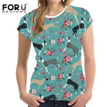 FORUDESIGNS Great Dane Flower Printing T Shirt Women Fashion Short Sleeve T-shirt Female Funny Design Tops for Girls Kawaii Tees