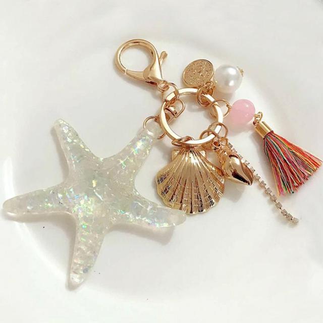Cartoon Sea World Starfish Pearl Shell Key Chain KeyRing Crystal Pendant Keychai