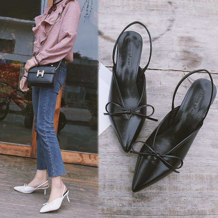 Europe and the United States 2018 Summer New Korean High-heeled shoes wild bow-knot sandals europe and the united states 2015 new spring shoes and high heeled shoes asakuchi pointy suede 35 41 code