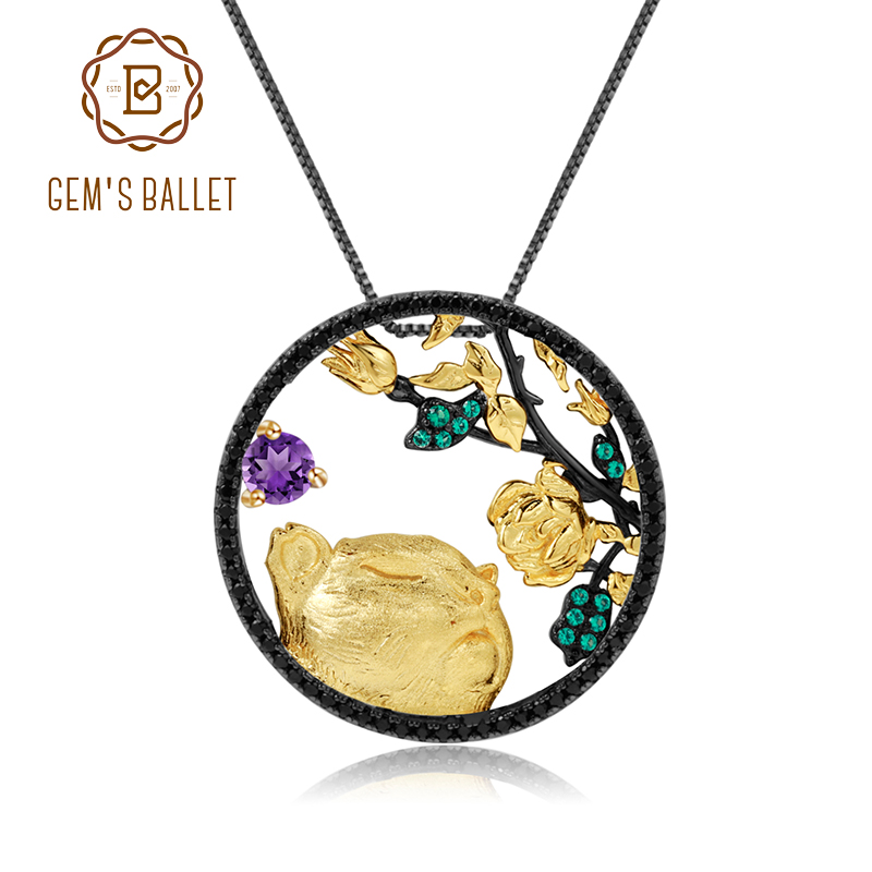 GEM'S BALLET Natural Amethyst Gemstone Zodiac Jewelry Tiger Sniffs The Rose 925 Sterling Silver Pendant Necklace For Women