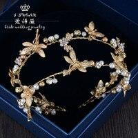 La nueva mano Barroco doble Libélula de oro rhinestone de la perla diadema novia cabeza ornamento accesorios de la cena espectáculo