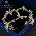 The new golden pearl rhinestone hand Baroque double Dragonfly headband bride head ornament accessories dinner show