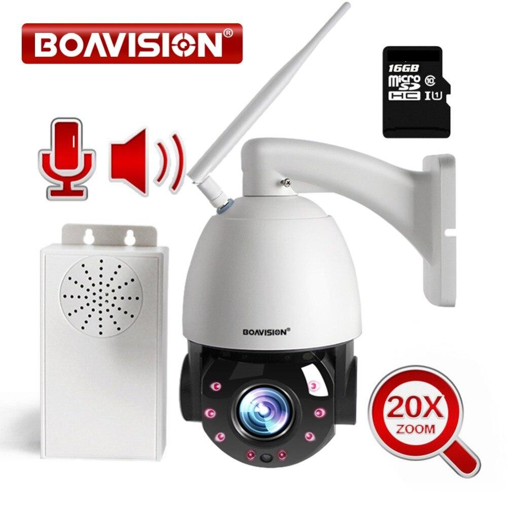 20X Zoom HD 1080 P WIFI IP caméra PTZ dôme extérieur sans fil caméra étanche IP66 deux voies Audio parler avec haut-parleur 16 GB TF carte