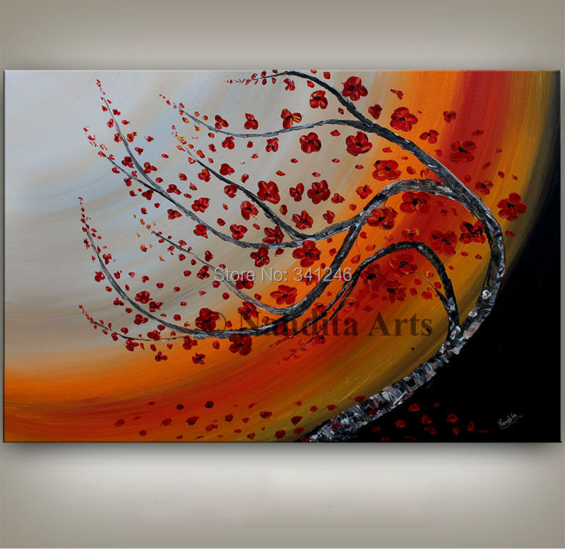NEW Hand painted modern home decor wall art picture poppy red flower thick paint palette font