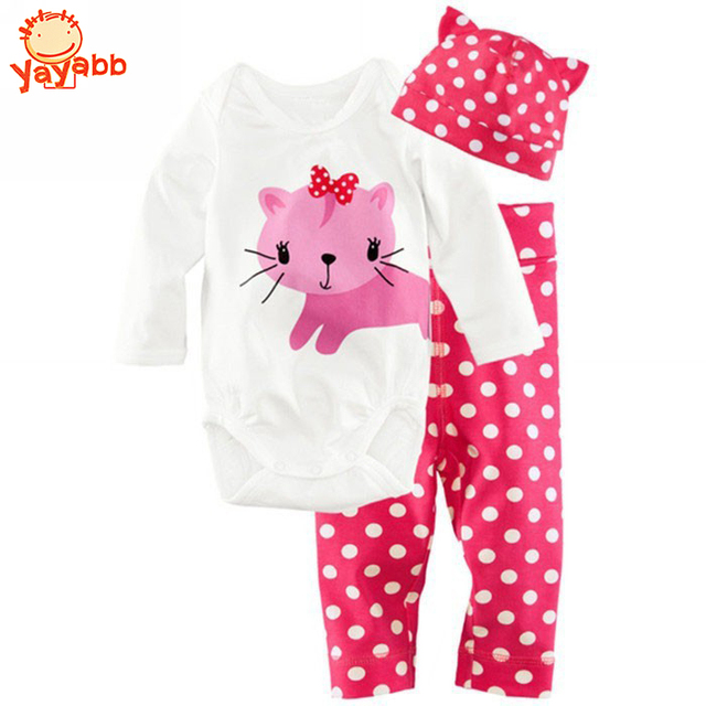 2016 Fashion Baby Girls Clothes 3Pcs(Long-Sleeved Romper+Hat+Pants)Pink Cat Pattern Baby Girls Clothing Set