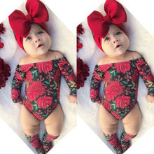 Fashion Newborn Kid Baby Girl Cotton Long Sleeve Floral Clothes Off Shoulder Bodysuit
