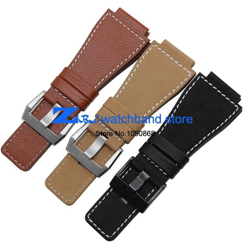 цены на Convex interface Wide Genuine Leather bracelet strap watchband 34mm accessories Wrist watch band  wristwatches bracelet men в интернет-магазинах