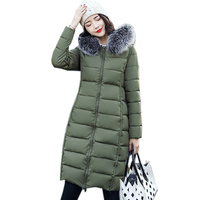 2017 Winter New Long Slim Women Down Cotton Coat Hooded Large Faux Fur Collar Double Sided