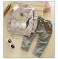 Детский Набор 12 М 5 Т Хлопок Динозавра Толстовки + Решетки Брюки Весна Осень Мальчики Девочки детские одежда