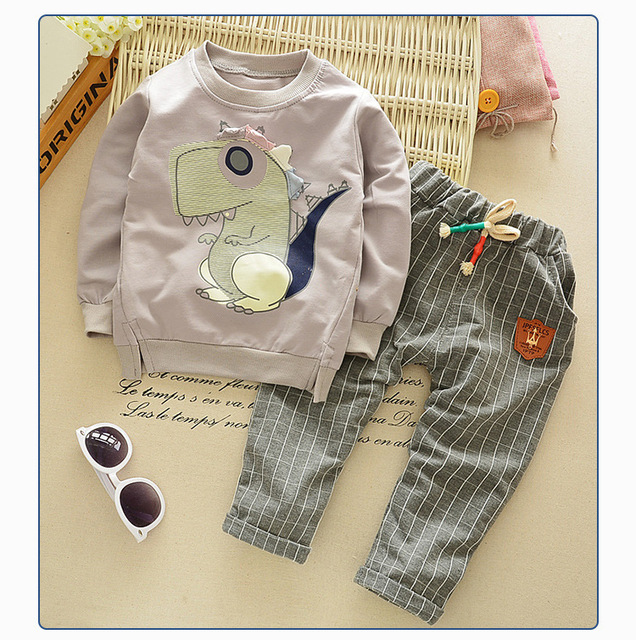 Children's Set 12M to 5T Cotton Dinosaur Sweatshirts + Lattice Pants Spring Autumn Boys Girls Children's Clothing