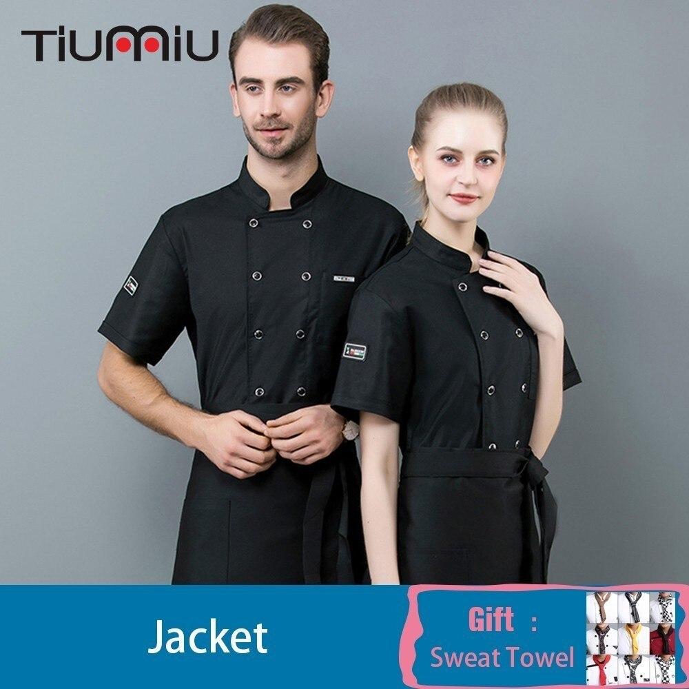 Chef Jacket With Free Scarf Gift Short Sleeve Kitchen Restaurant Waiter Uniform Shirt Food Service Barbershop Work Clothes