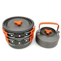 Ultralight Camping Utensils Tableware Outdoor Cookware Camping Kettle Picnic Set Aluminum Alloy Camping Pots Pans Outdoor Teapot