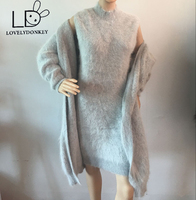 Lovelydonkeygenuine норки кашемировый свитер женщин кардиган вязаный жакет с длинным пальто с мехом Бесплатная доставка m686