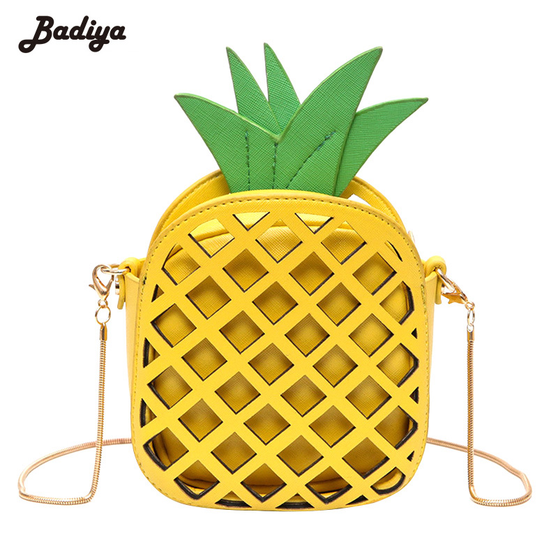 Badiya Fashion Women Handbag Lovely Pineapple Girl PU Leather Chain Messenger Bag Hollow Out Mini Female Fruit Shoulder Bags