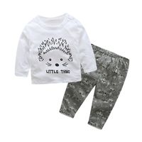 Kids long sleeve cotton Printed hedgehog Tops Printing Grey printed hedgehog pants children clothing 0-24M 2pcs