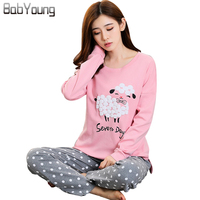 BabYoung 2017 Winter Pyjamas Cotton Women Pajamas Sets Pijamas Mujer Sheep Pattern Femme Long Sleeve Sleepwear