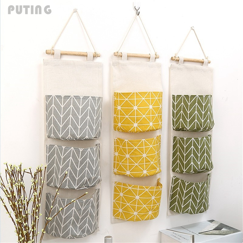 3 Grids Wall Hanging Storage Bag Organizer Toys Container Decor Pocket Pouch Set