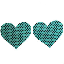 50 pairs (100 Pcs) /lot Heart shape Breast Pasties Nipple Covers seaside green dot soft Sexy experience Nipple Covers