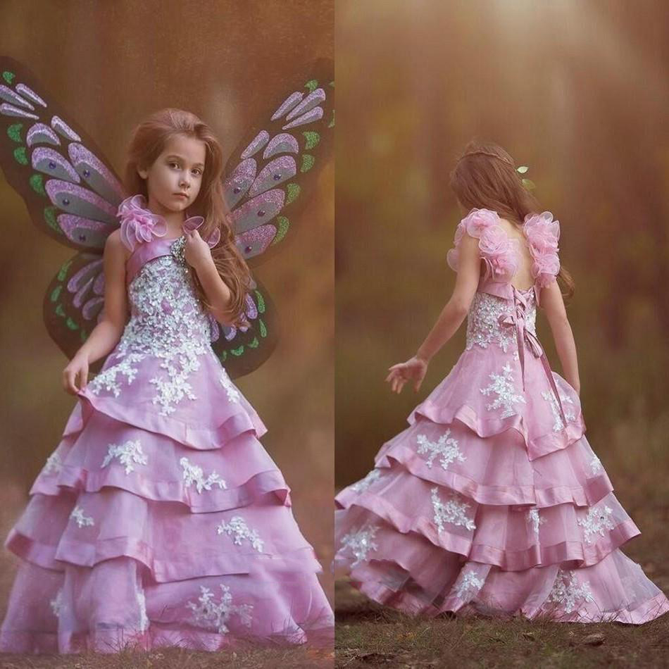 Fashion Hot Sale Girl Beauty Pageant Dress Tiered Flower Girl ...