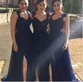 Navy Blue Bridesmaid Dresses Robe DemOiselle D'honneur Long Cap Sleeve Appliuqes Satin Side Slit Party Dress Bridal Gown 2017