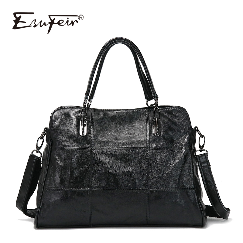 ESUFEIR Genuine Leather Luxury Handbags Women Bags Designer Patchwork Sheepskin Shoulder Bag Famous Brand Casual Tote bags sac