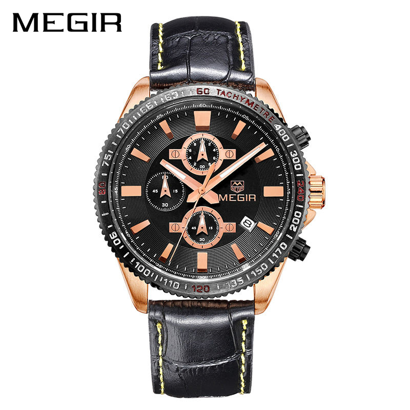 MEGIR Men Business Watch Top Brand Luxury Quartz Watches Leather Chronograph Army Military Watch Clock Men Relogio Masculino xinge top brand luxury leather strap military watches male sport clock business 2017 quartz men fashion wrist watches xg1080