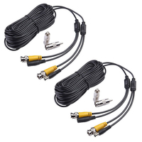 MOOL 2 Pack 50 Pieds de Sécurité Caméra Vidéo Câble D'alimentation CCTV DVR Système de Surveillance Fil Cordon avec BNC RCA Connecteur noir