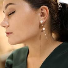 DAIMI Snake Chain Earrings Cultured Freshwater Pearls 925 Sterling Silver Earring 8-9mm Long Design Drop Earrings