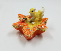 Emaye maple leaf Güzel Biblo kutusu Düğün favor üzerinde Kalaylı sincap Küçük Hediye Kutusu