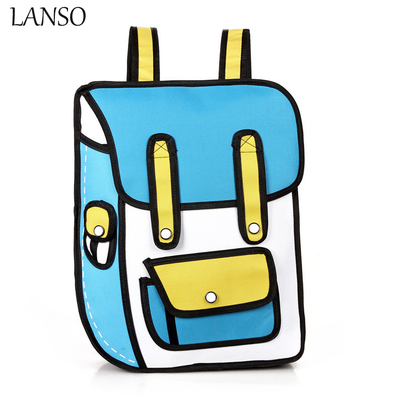 LANSO Cute Anime Backpack Rucksacks Canvas 2D Travel Drawing Book Mochila Student Bag School Bags High
