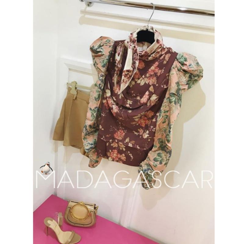 2018 Осень Женская Ретро буря печать цветочный принт саржевая блузка Болеро рукав рубашка темперамент длинный рукав Топ