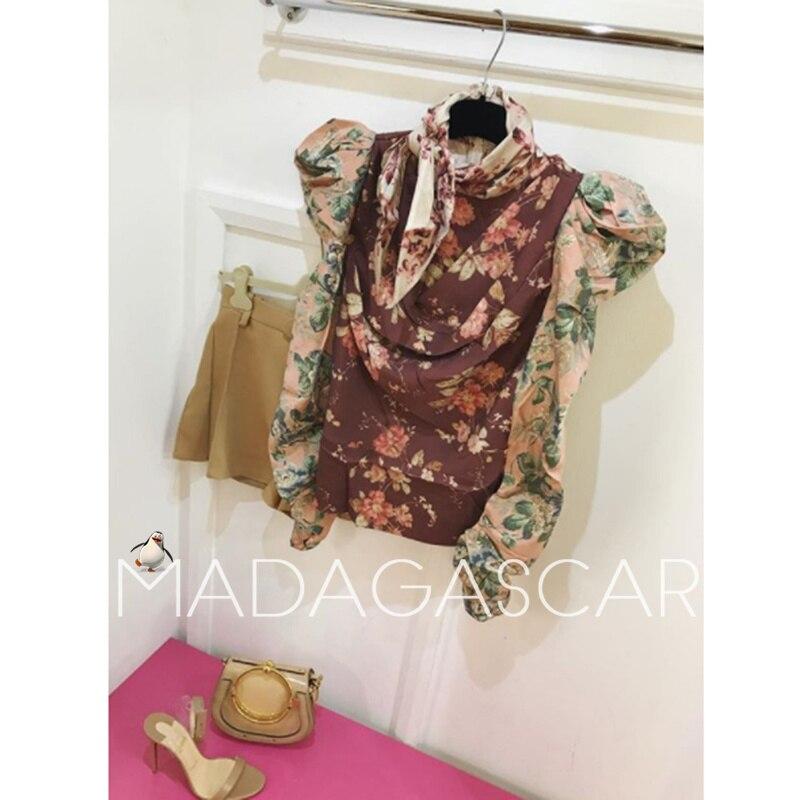 2018 Automne femmes Rétro Tempête impression floral-print sergé chemisier Boléro manches chemise tempérament haut à manches Longues