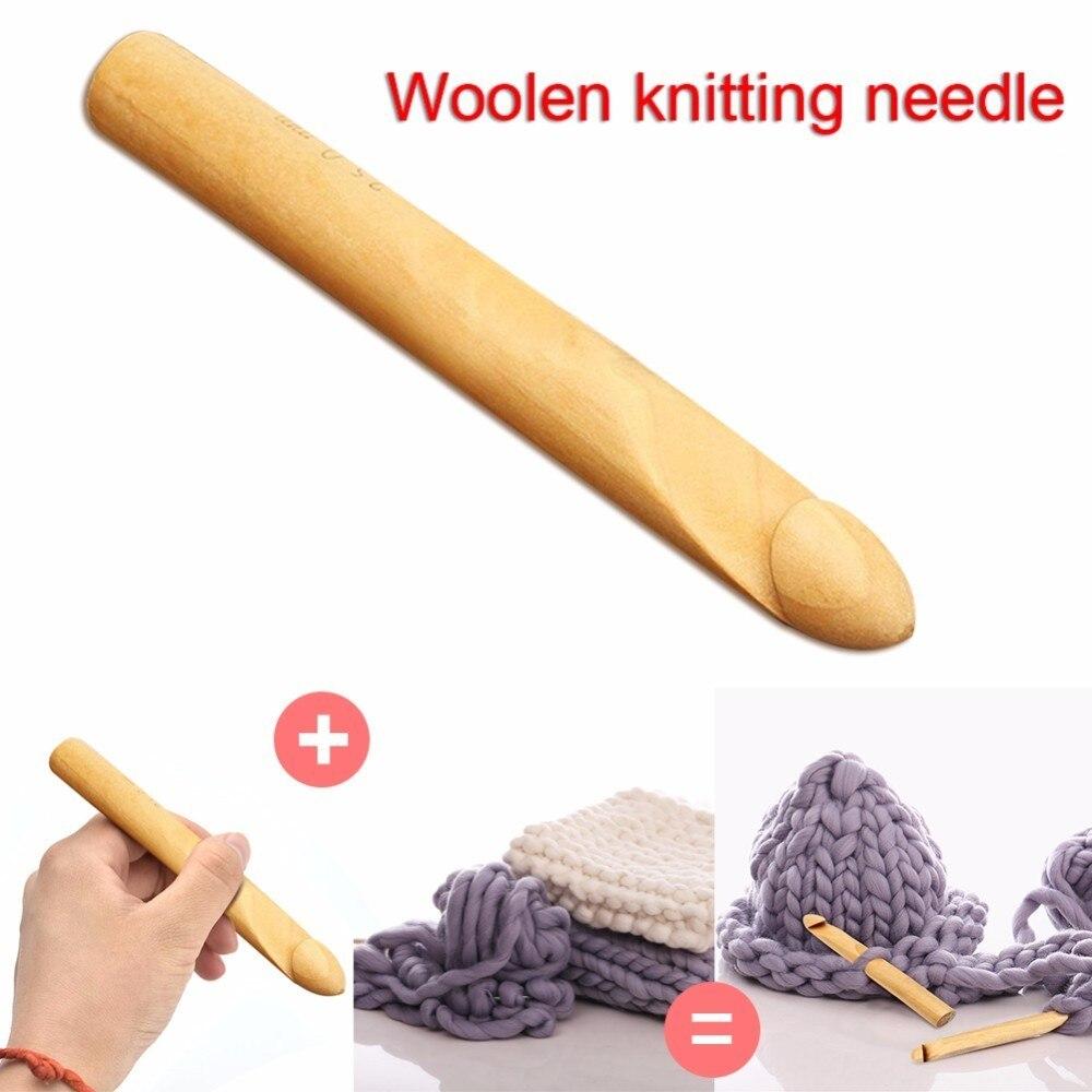 1pcs Bamboo Handle Crochet Hook Super Thick Yarn Iceland Knitting