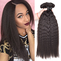 "Indian Virgin Hair Kinky Straight 8""-26"" Kinky Straight Hair Weave Bundles Raw Indian Curly Virgin Hair Yaki Human Hair Bundles"