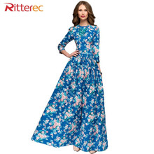Autumn dress women beach blue dress 2017 bodycon brief half floot length empire o neck Female print floral maxi dress