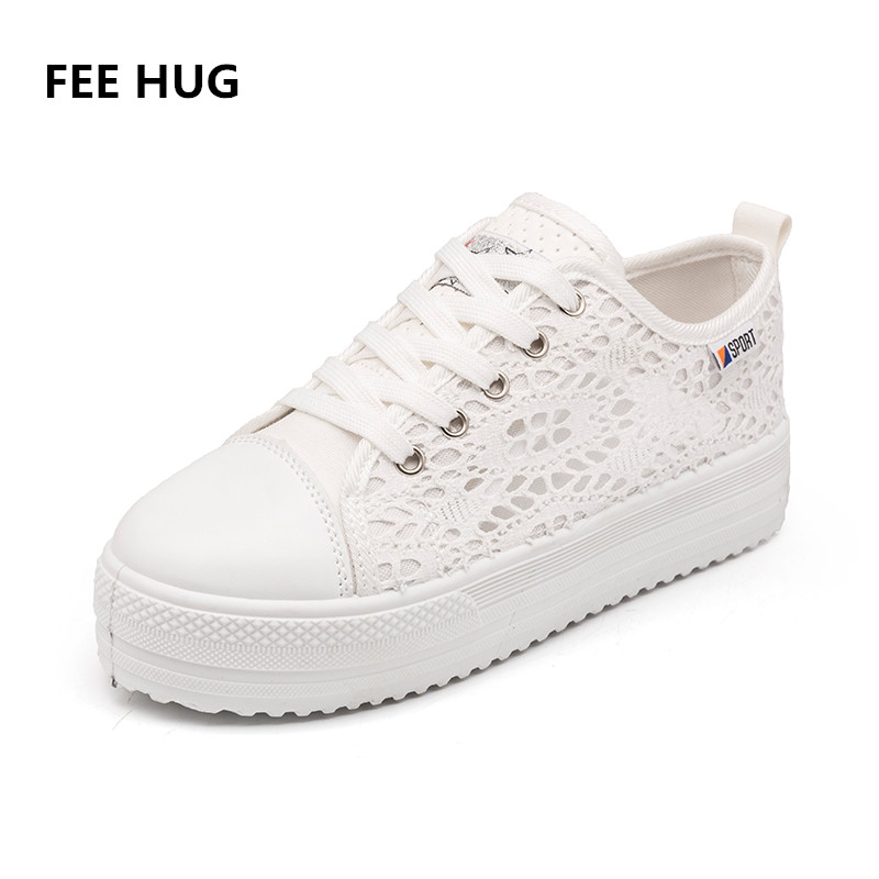 FEE HUG New Spring Lace Canvas Shoes Woman Casual Shoes Hollow Floral Print Breathable Platform Flats Women Shoes Plus Size 42 summer women shoes casual cutouts lace canvas shoes hollow floral breathable platform flat shoe sapato feminino lace sandals page 6