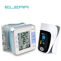 ELERA Health Care LCD Automatic Digital Wrist Blood Pressure Monitor Tonometer + Fingertip Pulse Oximeter Oximetro Alarm Setting