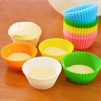 2016 New Silicone Baking Cups Cupcake Liner 48 Pcs Reusable Muffin Molds In Storage Container