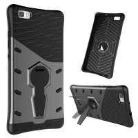 For Huawei P8 Lite Case Shockproof Armor Hybird Silicone Cover 360 Degree Rotation Kickstand Phone Case