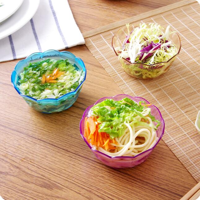 Japan Style Plastic Salad Bowl Colorful Transparent Fruit Snack Bowl 4 Pieces Lot Small Crystal Salad